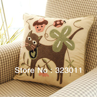 100% Cotton Emboridery Clean and Nature Cats Cushion Country Decor Three Design12pcs/lot Free Ship Wholesale