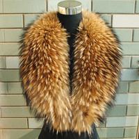 FOXTAIL Top Luxury Women's Collar Fur 85 cm Long 18 cm Width Natural Real Raccoon Fur Shawl Scarf Fur Collar