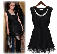 Fashion fashion women's 2013 handmade beading pressure pleated ruffle beaded pleated slim one-piece dress