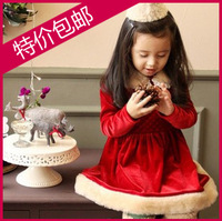 Children's clothing 2013 winter classic female child gold velvet christmas dress one-piece dress Christmas princess style red