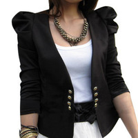 Autumn new arrival 2013 women's V-neck puff sleeve double breasted suit cardigan slim short jacket female