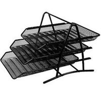 Mesh metal three-tier document tray file folder file holder iron mesh black