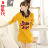 2013 autumn women's casual all-match fleece thickening thermal with a hood pullover sweatshirt outerwear