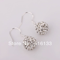Shamballa Jewelry Earrings, 925 Silver Crystal Disco Ball Shamballa Drop Earrings 5pairs/lot