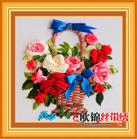 Factory outlets Free shipping Ribbon embroidery floral flower paintings living room full cross stitch edge printing