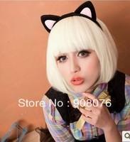 Best selling! Girls short straight hair bobo anime cosplay wig beige fake hair neat bangs wig Free shipping