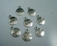 Sales! 100 Pcs Tibetan Silver Alloy Believe Charms Pendants 11.5x15.5mm  A00121