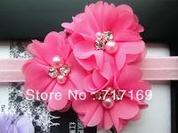 NEW Baby Headbands Triple soft chiffon pearl and rhinestone flowers girl Headbands 15pcs/lot