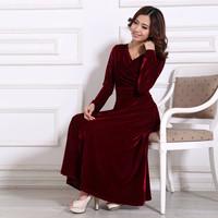 2014 New Autumn Women's Plus Size XXXXL 5XL Noble OL Elegant Long-sleeve Gold Velvet Dress Woman Full Casual Dresses 2XL 3XL 4XL