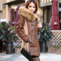 FREE SHIPPING Winter slim medium-long down cotton-padded jacket women's PU leather coat wadded jacket