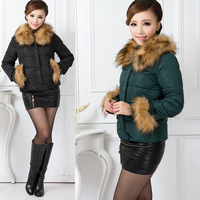 FREE SHIPPING Slim short down cotton-padded jacket design women's large fur collar outerwear thickening wadded jacket