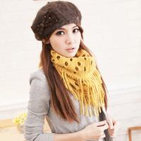 2013 yarn basket style tassel muffler scarf