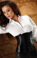 Free Shipping Beauty Royal Bodysuit Cummerbund Vest Shapers Plus Size Lingerie Black Leather Corset Top