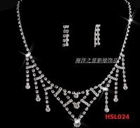 Charming 2014 Wedding Dress Elegent Jewelry Bride Silver  Necklace+Cute Earring  Tassel Pendant Crystal Chain HSL024