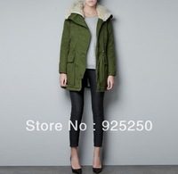 army green jacket women autumn winter 2013 military hoodie thick outwear coat warm fleece lining long sleeve parka PK012#