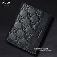 Male genuine leather wallet short design men's cowhide wallet vertical wallet