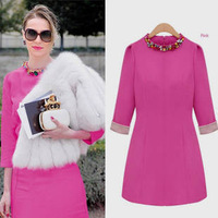 Free Shipping 2013 Women's Slim Long Sleeve Dress Ladies European American Diamond-studded Collar Round Neck Bottom Dress Female