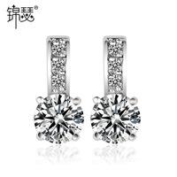 2015 new Star Cubic Zirconia Earrings Platinum Quality Wholesale women minimalist copper