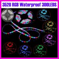 One roll 5M 300LED 3528SMD 12V RGB LED flexible strip/led strip light/waterproof IP67 HIGHT BRIGHTNESS