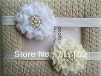 Baby Headbands girls headbands 3inch 10colors double layers Flower with pearl rhinestone headbands 10pcs/lot
