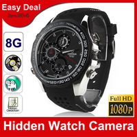 Full HD 1080P Watch Camera Night Vision 8GB Watch Mini DVR Recorder 1920X1080 Motion Detection Hidden Camera Free Shipping