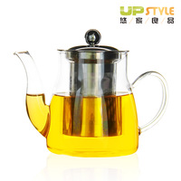 High quality heat resistant glass teapot stainless steel liner flower pot glass tea set tea cup