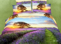 Free shipping 100% cotton bedding 3d oil painting reactive print cotton 100% piece bedding set lavender