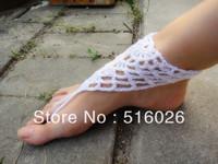 Wholesale 5pair/lot white women handmade crochet barefoot sandal, anklets, foot jewelry for wedding, beach, yoga, bellydance,