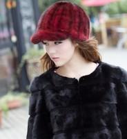 women winter fashion luxury fur caps  genuine mink hair visors lady sunhat  drop  free shipping