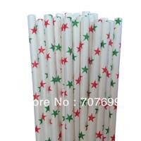 Free DHL Shipping $100 Above Paper Straws, Striped Paper Straws, Red/Green Paper Straws Christmas Paper Straws 500 pcs