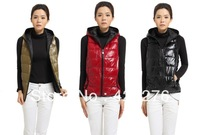 FREE SHIPPING women's Down female glossy down vest with a hood folder down coat liner down vest