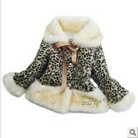 Free Shipping! autumn warm jacket kids fashion children's clothing girl's coat kid's leopard outerwear plus velvet 2013