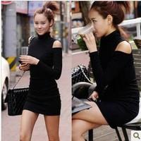 Autumn and winter women strapless tight fitting ultra slim elastic one-piece dress slim hip