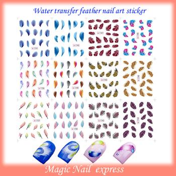 New 12 styles Nail Wrap Art Water Transfer DECAL Feathers Nail Art sticker salon 12sheets/lot