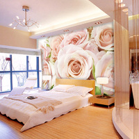 White rose large mural romantic customized wallpaper tv background wallpaper flower mural