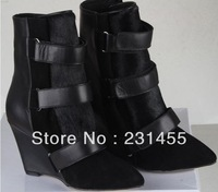 New arrivals free shipping womens real leather black white buckled belt 8cm wedge Rabbit fur ankle dress brand boot is shoe