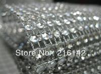 Wholesale -4.5inch 10 Yards 24 Rows Silver Wedding Decoration Diamond Mesh Roll Rhinestone Ribbon Crystal Wrap