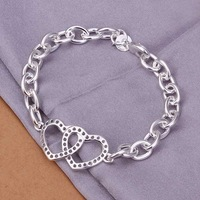 Hot Sell!Wholesale Sterling 925 Silver Bracelet,925 Silver Fashion Jewelry,Double Heart Bracelet SMTH316