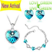 2014 Free Shipping Hotselling  Wholesales 18K Gold Austrian Crystal Heart Pendant Jewelry sets Necklace Earrings Bracelet 40975