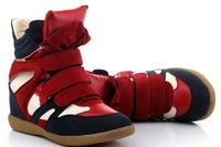 2013Drop Shipping Leather Red+Black+Blue Boots Height Increasing Women Sneakers Shoes Free Shipping
