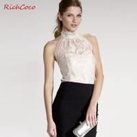 elegant richcoco racerback sexy tube top turtleneck sleeveless halter-neck slim lace shirt d181