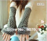 Special han edition winter warm extended hemp pattern of wool rabbit hair half gloves sleeve female arm set