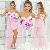 Vnaix P0050 Elegant New Tulle High Low Prom Dress Pink