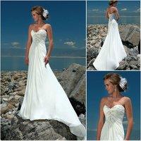 W0241 Modest Strapless Chiffon Casual Beach Wedding Dress 2012