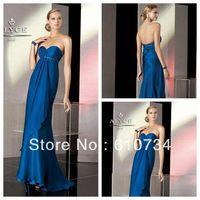 E0844 New Model Strapless Empire Floor Length Royal Blue Long Elegant Chiffon Evening Dress 2013