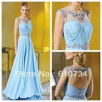 E0845 High Neck Cap Sleeve Ruffle Beaded Keyhole Back A-line Bule 2013 Long Chiffon Summer Evening Dresses