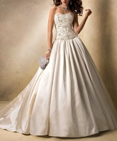 2013 New Exquisite Fashion Ivory Satin A-line Beading Crystal Royal Wedding Dresses OD2015