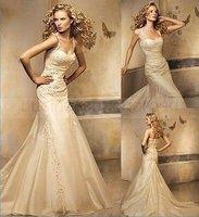 New Champagne Court Train Lace Spaghetti strap Organza Royal Wedding Dress KN39289