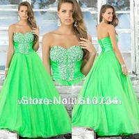 Vnaix P0066 2012 Elegant Sweetheart Beaded Organza Green Prom Dress