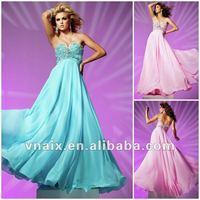 E0117 Elegant Empire Strapless Sweetheart Pink/Blue/Orange Chiffon Beaded Evening Dress 2012